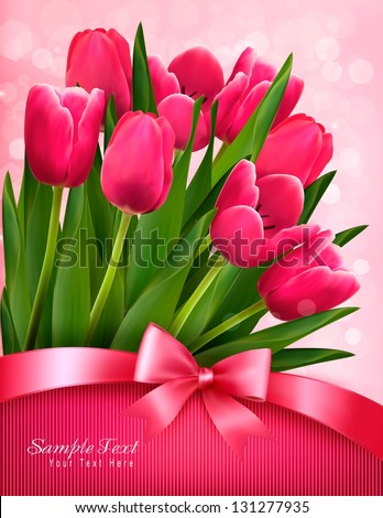 Holiday background with bouquet of red flowers with bow and ribbon. Vector illustration. - stock vector