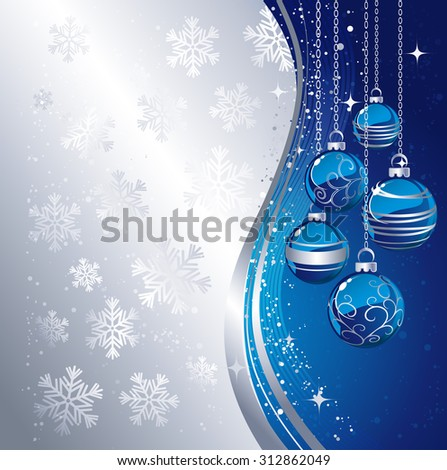 Holiday Background with Christmas baubles and snowflakes. Vector illustration. - stock vector