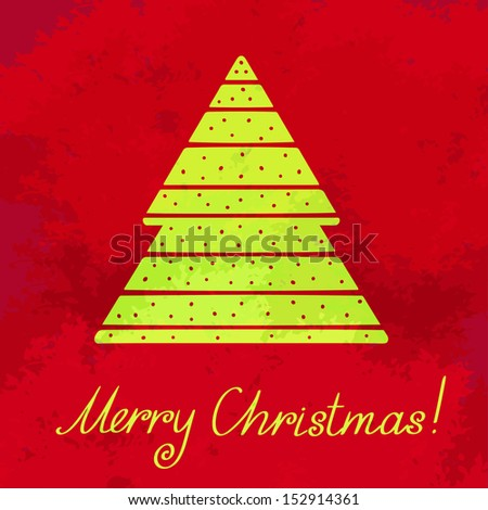 Holiday background with Christmas tree and text Merry Christmas. Abstract design logo. Logotype art - vector