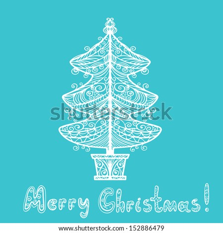 Holiday background with christmas tree and text Merry Christmas - vector