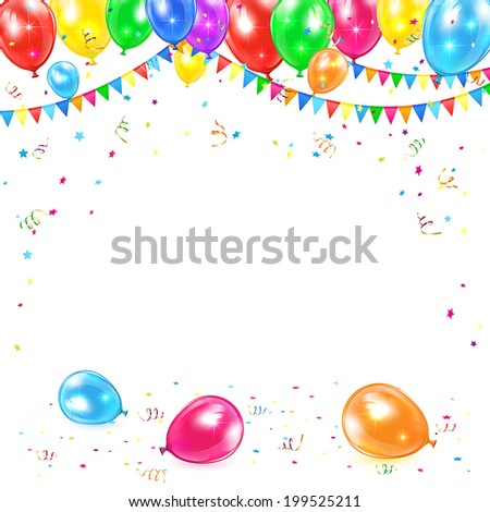 Holiday background with colored balloons, pennants, tinsel and confetti, illustration. - stock vector