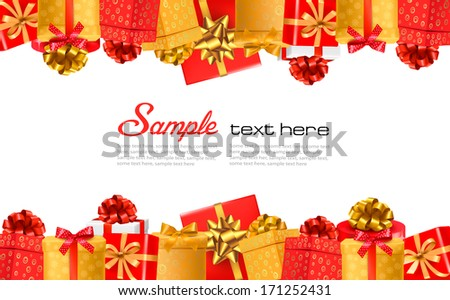 Holiday background with colorful gift boxes with bows. Vector illustration. - stock vector