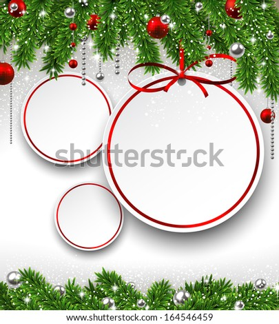 Holiday background with fir twigs and paper christmas balls. Vector illustration.  - stock vector