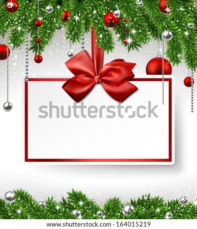 Holiday background with fir twigs and paper invitation card. Vector illustration.