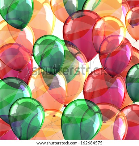 holiday background with flying multicolored balloons  - stock vector