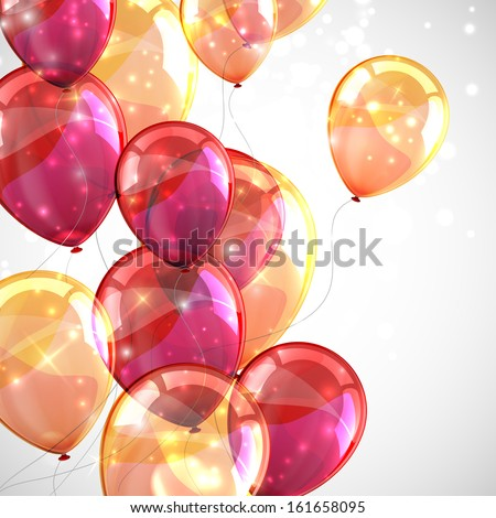 holiday background with flying multicolored balloons and sparkles - stock vector