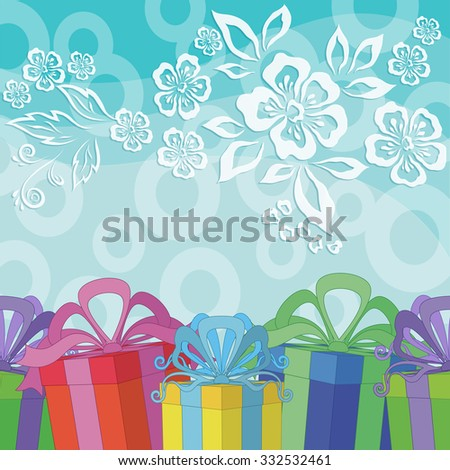 Holiday Background with Gift Color Boxes on Blue with Pattern Flowers and Rings. Eps10, Contains Transparencies. Vector - stock vector