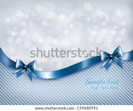 Holiday background with gift glossy bow and ribbon. Vector - stock vector