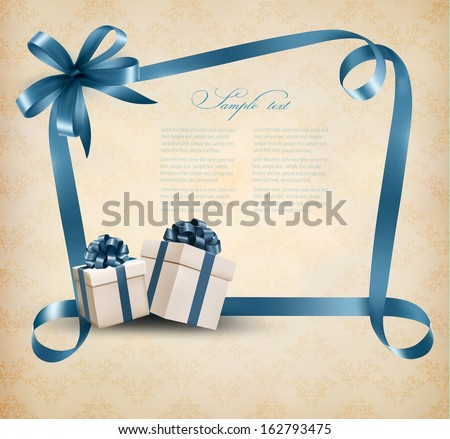 Holiday background with gift ribbon with gift box Vector  - stock vector
