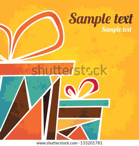 Holiday background with gifts and  place for text - vector - stock vector