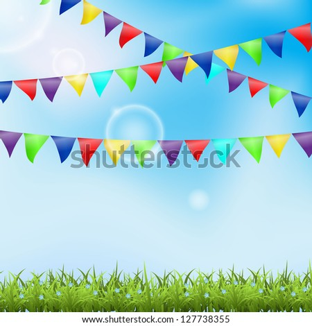 Holiday background with grass and pennant. Vector illustration. - stock vector
