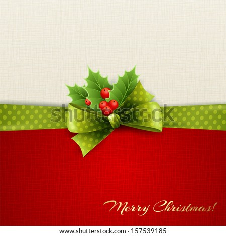 Holiday background with green polka dots ribbon and bow - stock vector