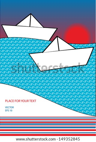 holiday background with paper boats on the sea with sunset, editable page layout with place for your text