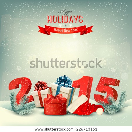Holiday background with presents and a 2015. Vector. - stock vector