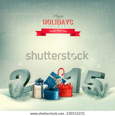 Holiday background with presents and 2015. Vector.  - stock vector