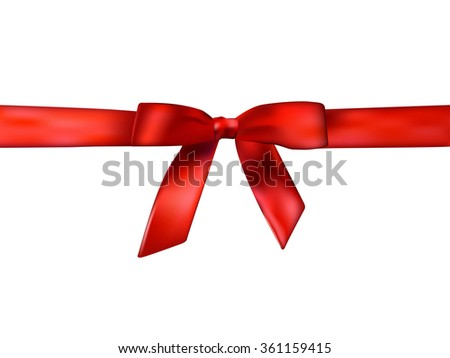 Holiday background with realistic shiny red satin gift bow and ribbon on white background with copy space. Vector illustration  eps 10 with gradient mesh. Abstract pattern for your design and business - stock vector