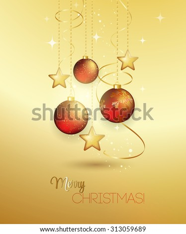 Holiday Background with red Christmas baubles. Vector illustration. - stock vector