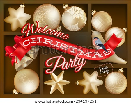 Holiday background with red shelf, and New Year's balls. EPS 10 vector file included - stock vector
