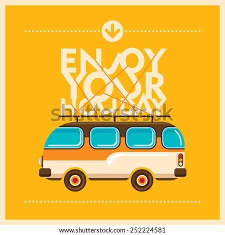 Holiday background with retro van. Vector illustration. - stock vector