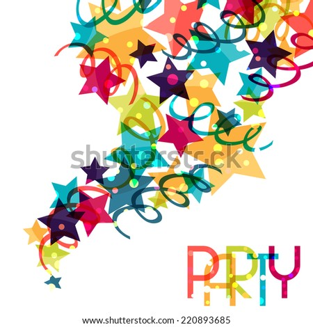 Holiday background with shiny colored celebration decorations. - stock vector