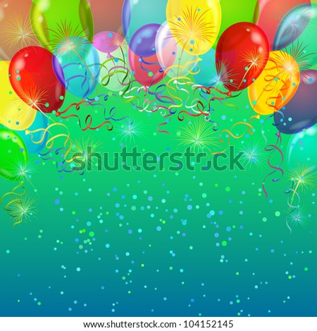 Holiday background with various color balloons, fireworks and confetti. Vector eps10, contains transparencies - stock vector