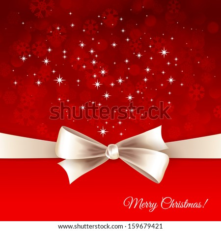 Holiday background with white bow and ribbon