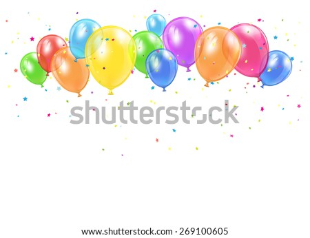 Holiday balloons and confetti flying on white background, illustration. - stock vector