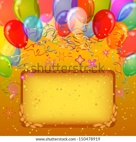 Holiday balloons of various colors on gold background with frame and serpentine. Vector eps10, contains transparencies - stock vector