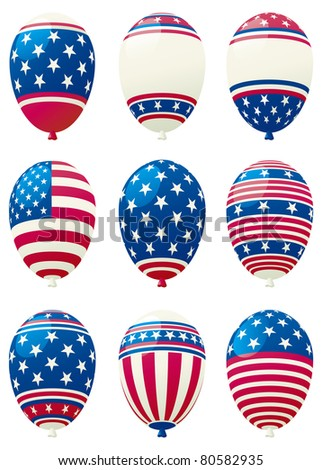 Holiday balloons. Vector set of holiday balloons colored like american flag