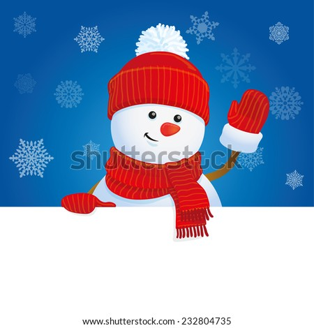 holiday banner, snowman waving hand, Christmas greeting card template, vector illustration - stock vector