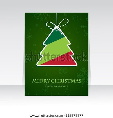 Holiday banner with striped christmas  tree. Retro christmas tree. Paper striped christmas tree on dark green snowflake background. Vector illustration for christmas poster, card, t-shirt or web.