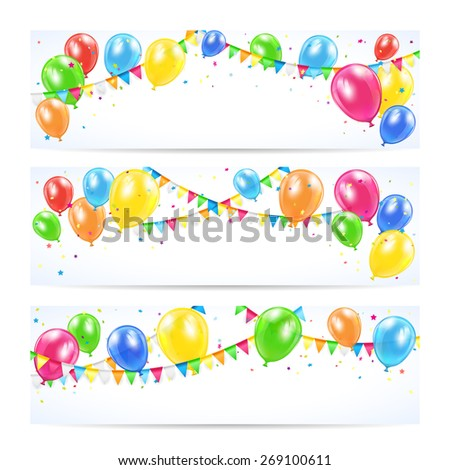 Holiday banners with colorful balloons, pennants and confetti, Birthday background, illustration. - stock vector