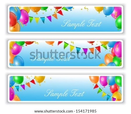 holiday banners with flags and colorful balloons - stock vector