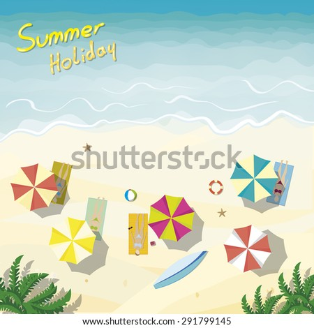 Holiday beach with bird - vector illustration - stock vector