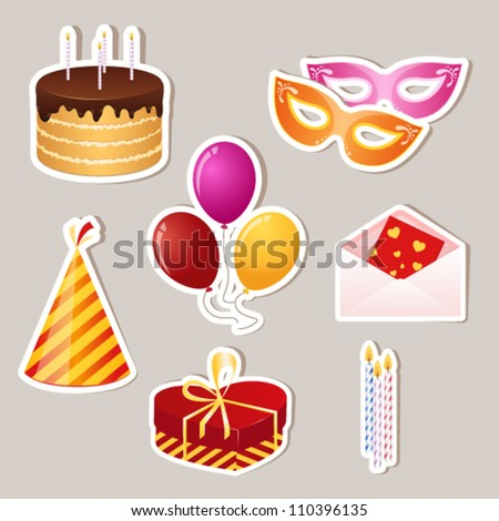 holiday birthday party stickers. vector icon set - stock vector