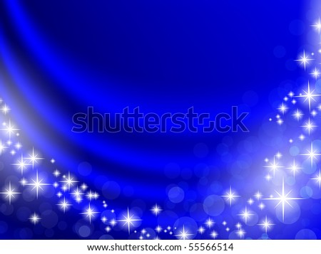 holiday blue curtain with shining stars and copyspace for your text - stock vector