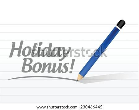 holiday bonus message illustration design over a white background - stock vector