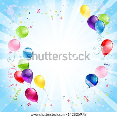 Holiday bright background with balloons - stock vector