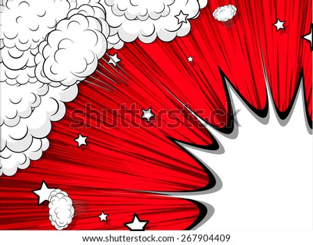 Holiday Bursting Clouds Stars Background - stock vector