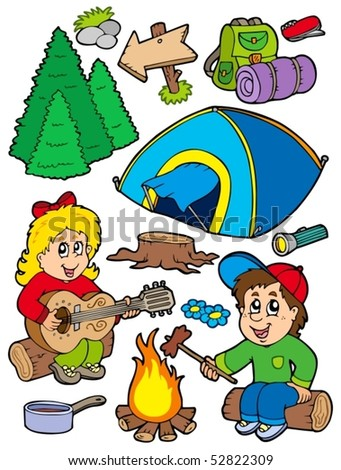 Holiday camping collection - vector illustration. - stock vector
