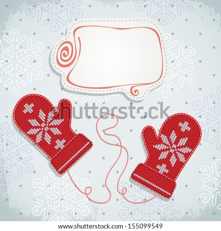 Holiday card design with knitted mittens. - stock vector