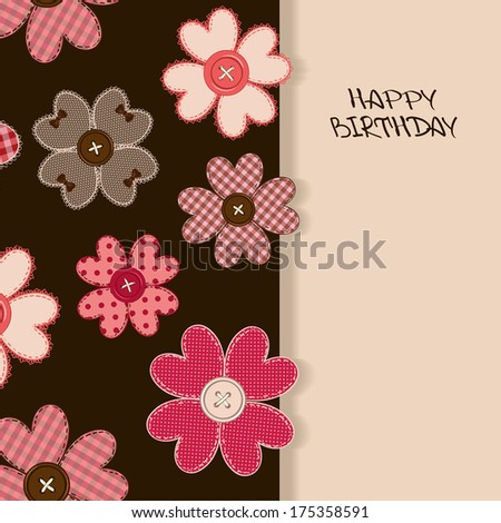 Holiday card or invitation with fancy flower patchworks and buttons - stock vector