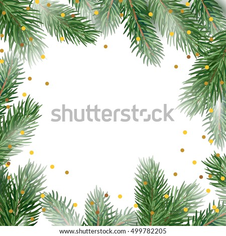 Holiday Card Template Fir Tree Branches Stock Vector 499782205