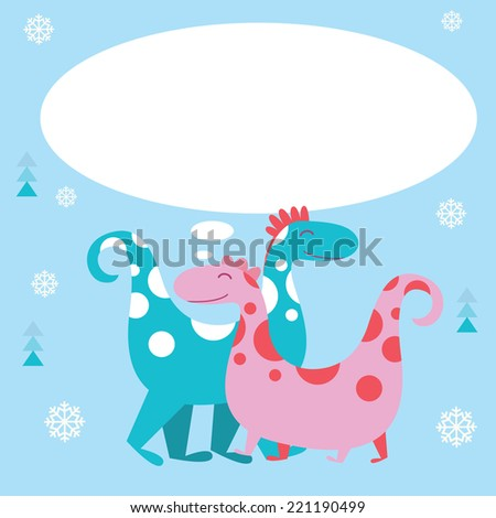 Holiday card with dino  characters