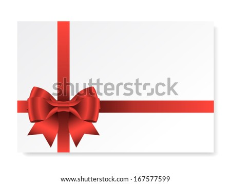Holiday card with red gift bow with ribbons, vector