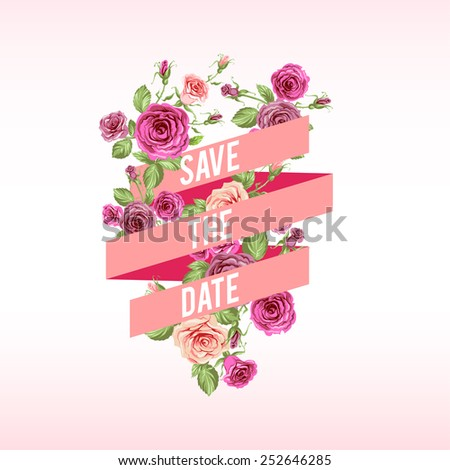 Holiday card with ribbon and flowers. - stock vector