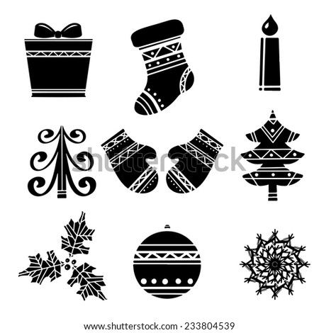 Holiday cartoon icons Christmas set. Gift box, stocking, burning candle, tree, mittens, holly, ball, snowflake isolated on a white background - stock vector