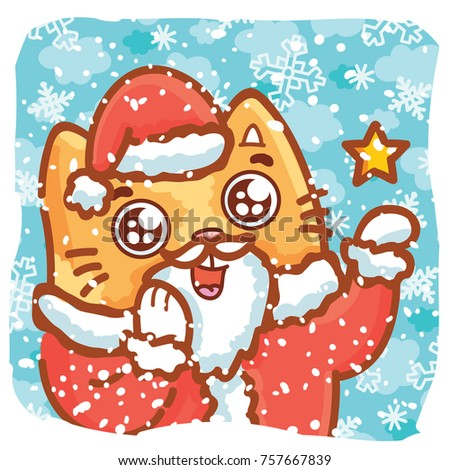 Cute ginger cat santa claus making stock vector 748415410 shutterstock holiday cartoon illustration with cute ginger cat character making magic as santa claus on winter snow m4hsunfo Images