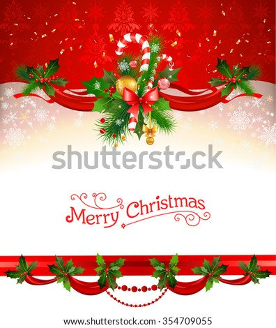 Holiday Christmas background. Festive decoration for design card, banner,ticket, leaflet and so on. - stock vector