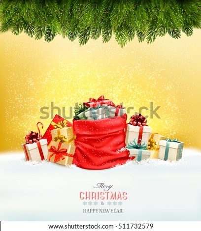 Holiday Christmas background with a sack full of gift boxes and branches of tree. Vector.